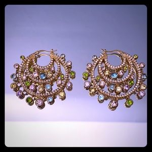 Gold and Crystal Hoop Earrings